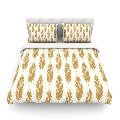 Feathers by Amanda Lane Featherweight Duvet Cover Color: Yellow/Cream, Size: Queen