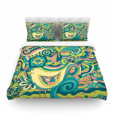 Birds In Garden by Alisa Drukman Featherweight Duvet Cover Size: Queen