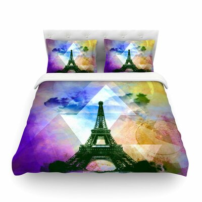 Eiffel Tower Twin Cotton by Alyzen Moonshadow Featherweight Duvet Cover Size: Twin, Color: Deep Pink/Multi