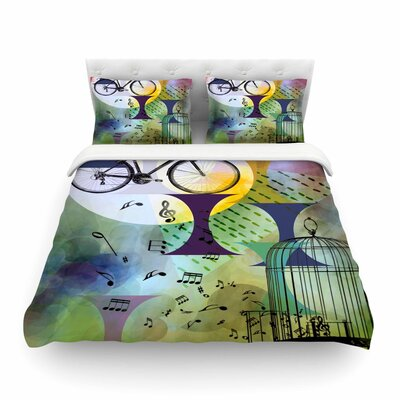 Bike to the Moon by Alyzen Moonshadow Featherweight Duvet Cover Size: King