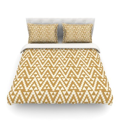 Geo Tribal by Amanda Lane Featherweight Duvet Cover Color: Yellow, Size: King