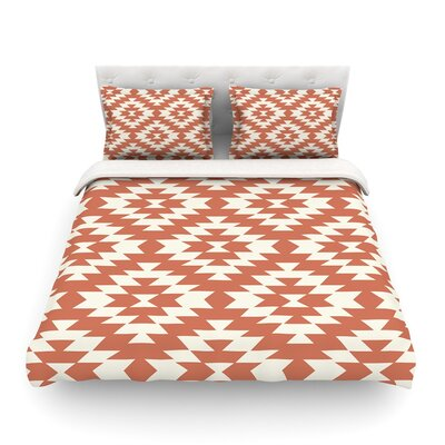 Navajo by Amanda Lane Featherweight Duvet Cover Color: Toasted Coral/Red, Size: Queen