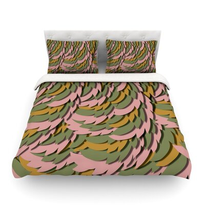 Wings Featherweigh by Akwaflorellt Duvet Cover Color: Pink/Green, Size: Queen