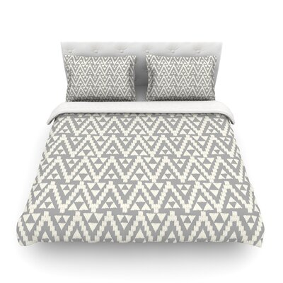 Geo Tribal by Amanda Lane Featherweight Duvet Cover Color: Gray, Size: Queen