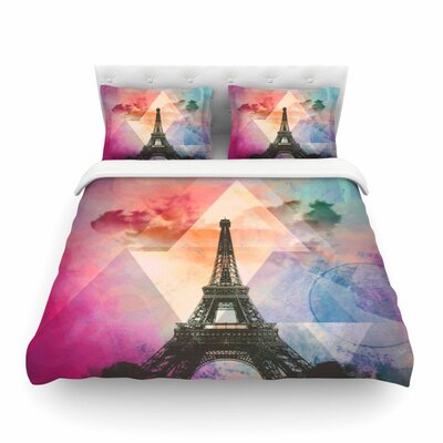 Eiffel Tower Twin Cotton by Alyzen Moonshadow Featherweight Duvet Cover Size: King, Color: Purple/Yellow