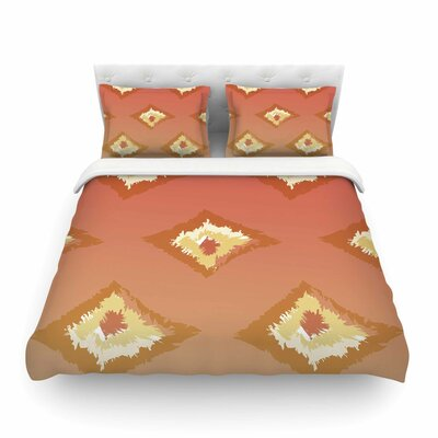 Lkat by Alison Coxon Featherweight Duvet Cover Color: Orange/Yellow, Size: Queen