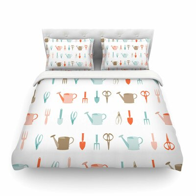Gardening Tools Pattern Abstract by Afe Images Featherweight Duvet Cover Size: Twin