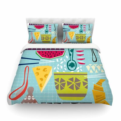 Dinner Out Food Vintage by Agnes Schugard Featherweight Duvet Cover Size: King