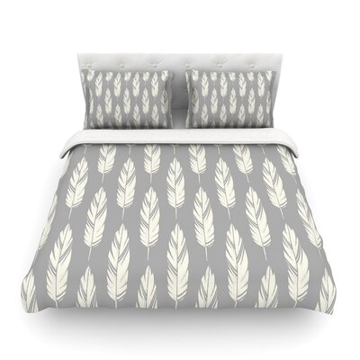 Feathers by Amanda Lane Featherweight Duvet Cover Color: Gray/Cream, Size: Queen