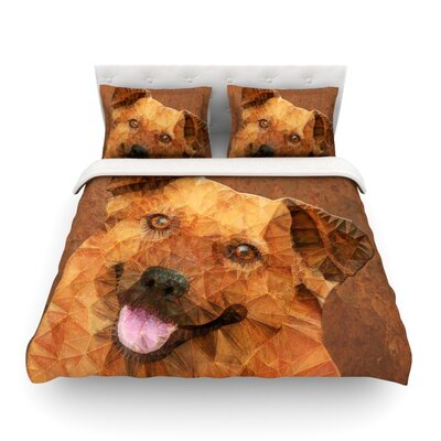 Abstract Puppy Geometric by Ancello Featherweight Duvet Cover Size: King