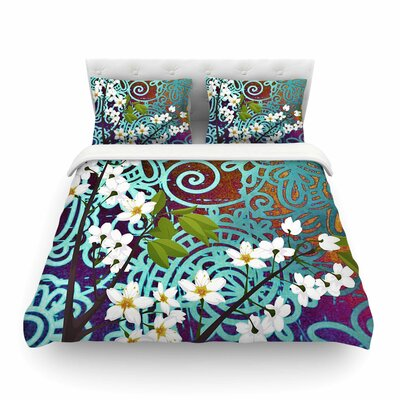Bird and Blossom by Alyzen Moonshadow Featherweight Duvet Cover Size: Twin