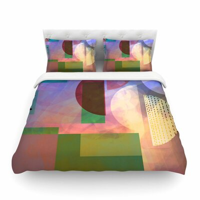 Baying at the Moon Geometric by Alyzen Moonshadow Featherweight Duvet Cover Size: King