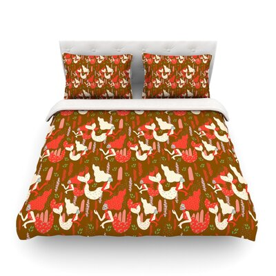 Mermaids by Akwaflorell Featherweight Duvet Cover Size: Twin, Color: Brown/Red