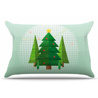 Geometric Christmas Tree by Noonday Design Pillow Sham Size: King