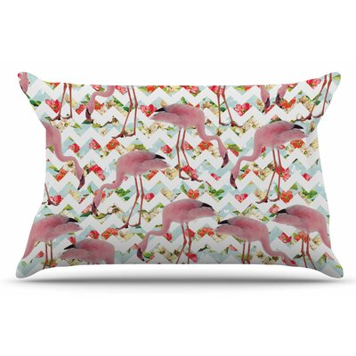 Flamingo Chevron & Roses by Suzanne Carter Pillow Sham Size: King