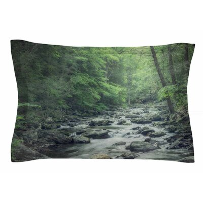 Misty Forest Stream by Suzanne Harford Pillow Sham Size: Queen
