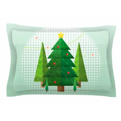 Geometric Christmas Tree by Noonday Design Pillow Sham Size: Queen