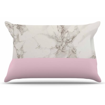 Marble and Block by Suzanne Carter Pillow Sham Color: Pink/Gray, Size: Queen