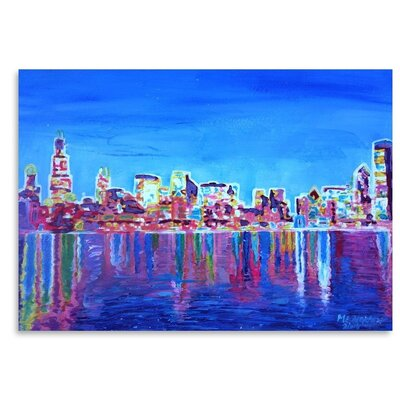 Chicago Skyline Neon Shimmering Painting UNFP8947 33529664