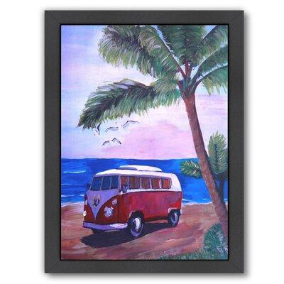 "Surf Bus Under Palms at Dream Beach Spot Framed Original Painting Size: 11"" H x 9"" W x 1"" D UNFP9186 33532386"