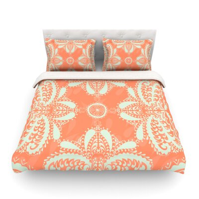 Motifs by Nandita Singh Floral Featherweight Duvet Cover Size: Queen, Color: Orange/Peach