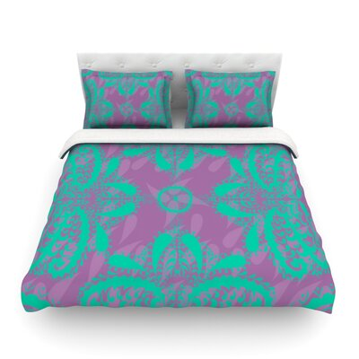 Motifs by Nandita Singh Floral Featherweight Duvet Cover Size: Twin, Color: Purple/Green