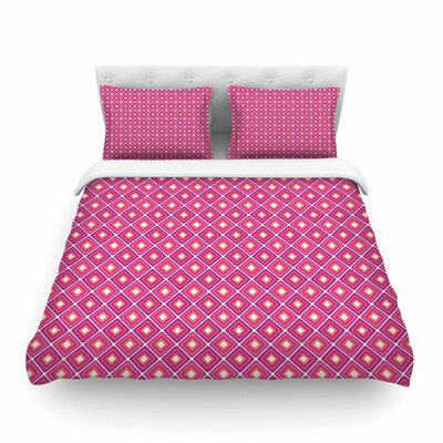 Bright Squares by Nandita Singh Featherweight Duvet Cover Color: Pink, Size: Queen