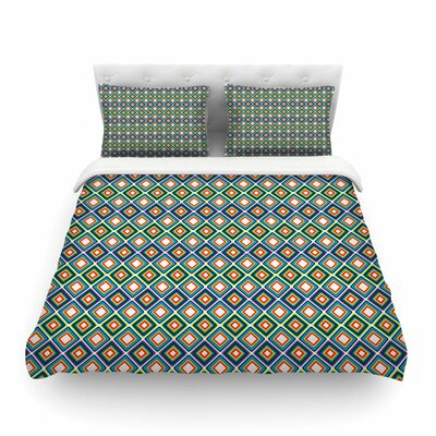 Bright Squares by Nandita Singh Featherweight Duvet Cover Size: Queen, Color: Green/Blue