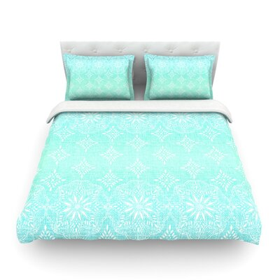 Medallion Ombre by Suzie Tremel Featherweight Duvet Cover Color: Blue/Teal/Aqua, Size: King