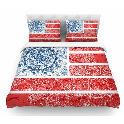 Americana Mandala Flag by Victoria Krupp Holiday Featherweight Duvet Cover Size: Queen