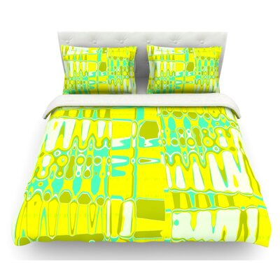 Changing Gears by Vikki Salmela Featherweight Duvet Cover Color: Yellow, Size: King