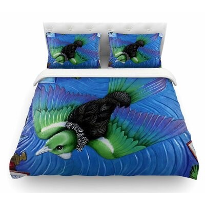 Tui Flying in Pacific Skies by Vinny Thompson Featherweight Duvet Cover Size: Queen