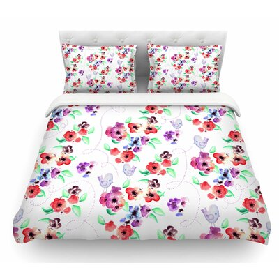 Spring Flowers and Birds by Zara Martina Mansen Featherweight Duvet Cover Size: Queen