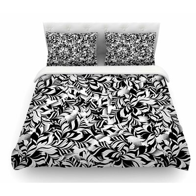 Monochrome Leaves Mosaic by Victoria Krupp Nature Featherweight Duvet Cover Size: Queen