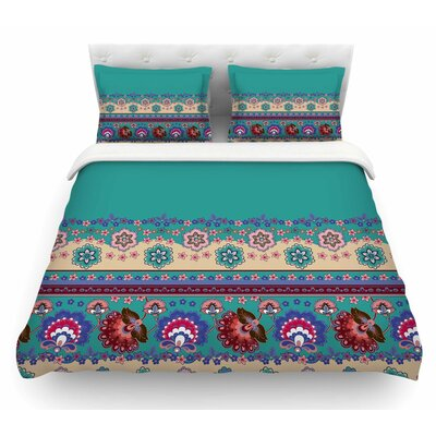 Folkloric Flowers Border by Victoria Krupp Floral Featherweight Duvet Cover Size: Queen