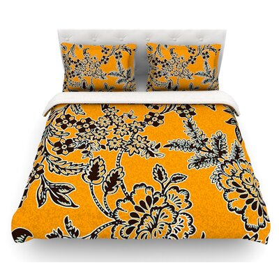 Golden Blossom by Vikki Salmela Featherweight Duvet Cover Size: Queen