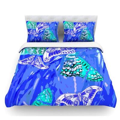 Butterflies Party by Vikki Salmela Featherweight Duvet Cover Size: Queen, Color: Blue/Aqua