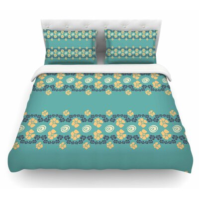Flora Formations by Zara Martina Mansen Featherweight Duvet Cover Size: Queen, Color: Green/Yellow/Teal