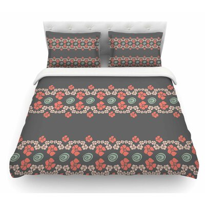 Flora Formations by Zara Martina Mansen Featherweight Duvet Cover Color: Gray/Coral, Size: Queen