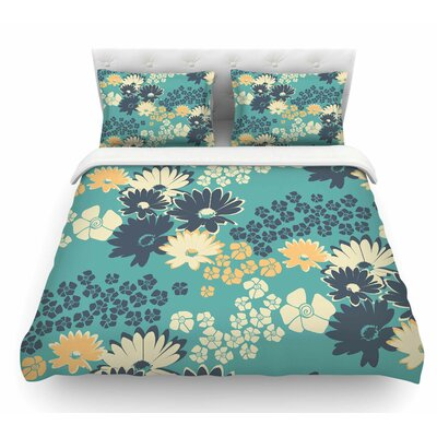 Natures Bouquet by Zara Martina Mansen Featherweight Duvet Cover Size: Twin, Color: Green/Blue/Teal