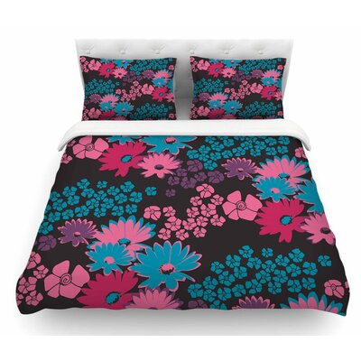 Natures Bouquet by Zara Martina Mansen Featherweight Duvet Cover Color: Teal/Pink, Size: King