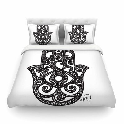 Hamsa Hand by Adriana De Leon Featherweight Duvet Cover Size: Queen