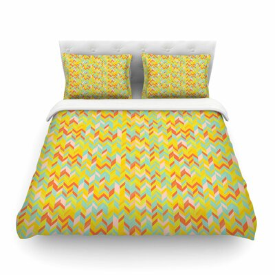 Chevron Pop Pattern by Allison Soupcoff Featherweight Duvet Cover Size: King