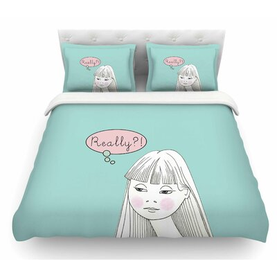 Really Retro Girl by Zara Martina Mansen Featherweight Duvet Cover Size: Twin