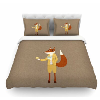 Mr Fox Takes Tea by Nic Squirrell Animals Featherweight Duvet Cover Size: Twin