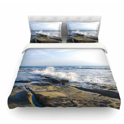 Wave Against Rocks by Nick Nareshni Featherweight Duvet Cover Size: Queen