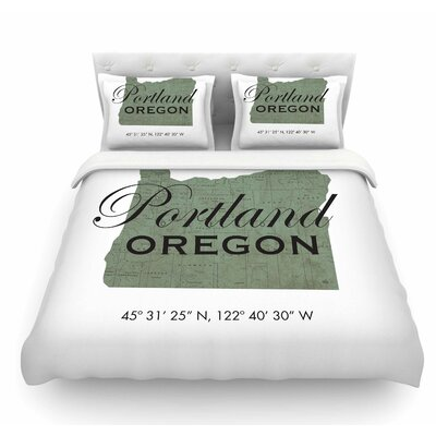 Portland Coordinates by Juan Paolo Featherweight Duvet Cover Size: King