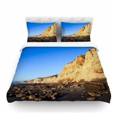 Beach Cliffside Rocks by Nick Nareshni Featherweight Duvet Cover Size: Queen