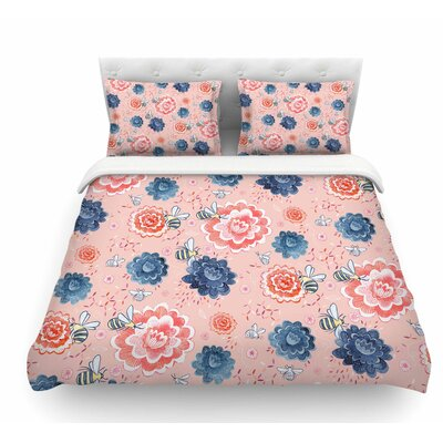 Bees Please by Nic Squirrell Floral Featherweight Duvet Cover Size: Queen