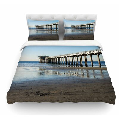 Scripps Beach Pier by Nick Nareshni Coastal Featherweight Duvet Cover Size: Queen
